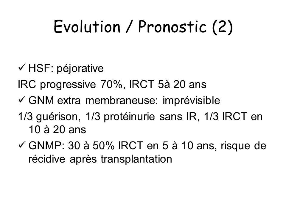 Evolution / Pronostic (2) HSF: péjorative IRC progressive 70%, IRCT 5à 20 ans GNM extra membraneuse: imprévisible 1/3 guérison, 1/3 protéinurie sans I