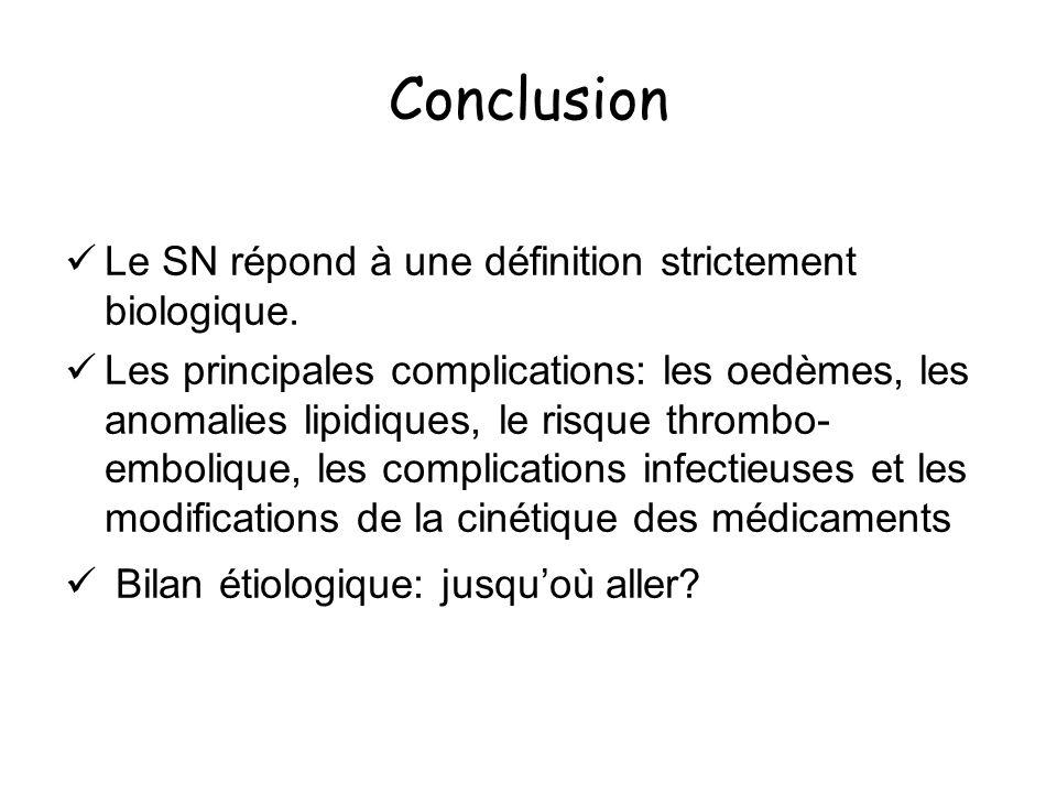 Conclusion Le SN répond à une définition strictement biologique. Les principales complications: les oedèmes, les anomalies lipidiques, le risque throm
