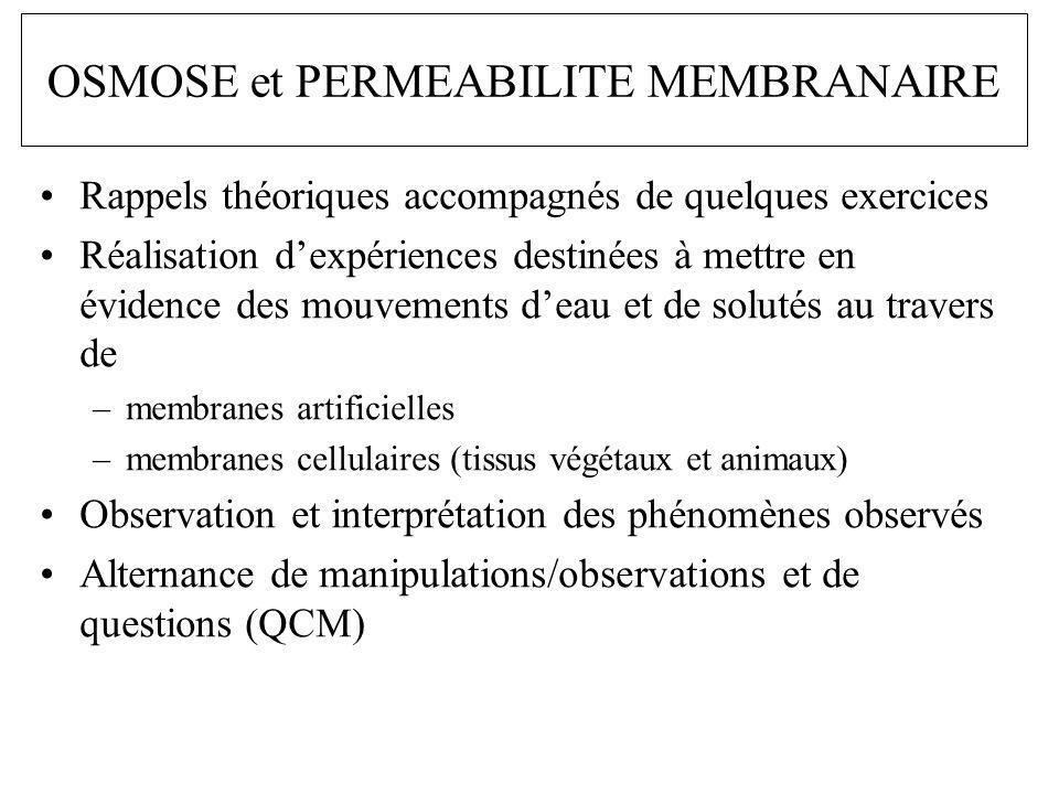 OSMOSE et PERMEABILITE MEMBRANAIRE Rappels théoriques accompagnés de quelques exercices Réalisation dexpériences destinées à mettre en évidence des mo
