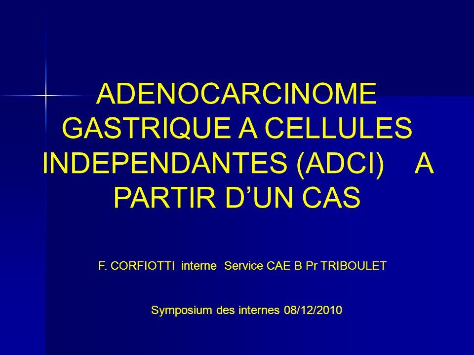 Suite Cas Clinique ( à 10 mois) AEG AEG Sub-occlusion Sub-occlusion TDM normal TEP normale ( Sensibilité TEP carcinose mauvaise, ADCI fixe peu TEP( fixe dans 6 %), Sensibilité TDM pour nodule carcinose < 1 cm mauvaise) TDM normal TEP normale ( Sensibilité TEP carcinose mauvaise, ADCI fixe peu TEP( fixe dans 6 %), Sensibilité TDM pour nodule carcinose < 1 cm mauvaise) CAT : exploration chirurgicale LAPARO CAT : exploration chirurgicale LAPARO