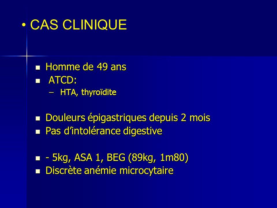 Fibroscopie: Fibroscopie: –lésion polypoïde, ulcérée, antre gastrique 2cm Echo endoscopie Echo endoscopie –usT3N+ (1 adénopathie juxtalésionnelle) TDM TAP : pas dextension à distance TDM TAP : pas dextension à distance Biopsies : Adénocarcinome cellules indépendantes ( ADCI) Biopsies : Adénocarcinome cellules indépendantes ( ADCI) Para clinique