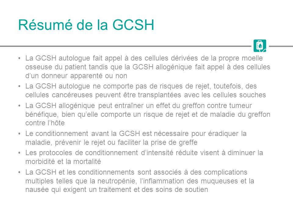 Résumé de la GCSH La GCSH autologue fait appel à des cellules dérivées de la propre moelle osseuse du patient tandis que la GCSH allogénique fait appe