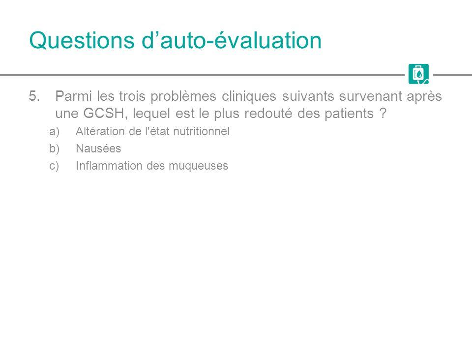 Questions dauto-évaluation 5.Parmi les trois problèmes cliniques suivants survenant après une GCSH, lequel est le plus redouté des patients ? a)Altéra