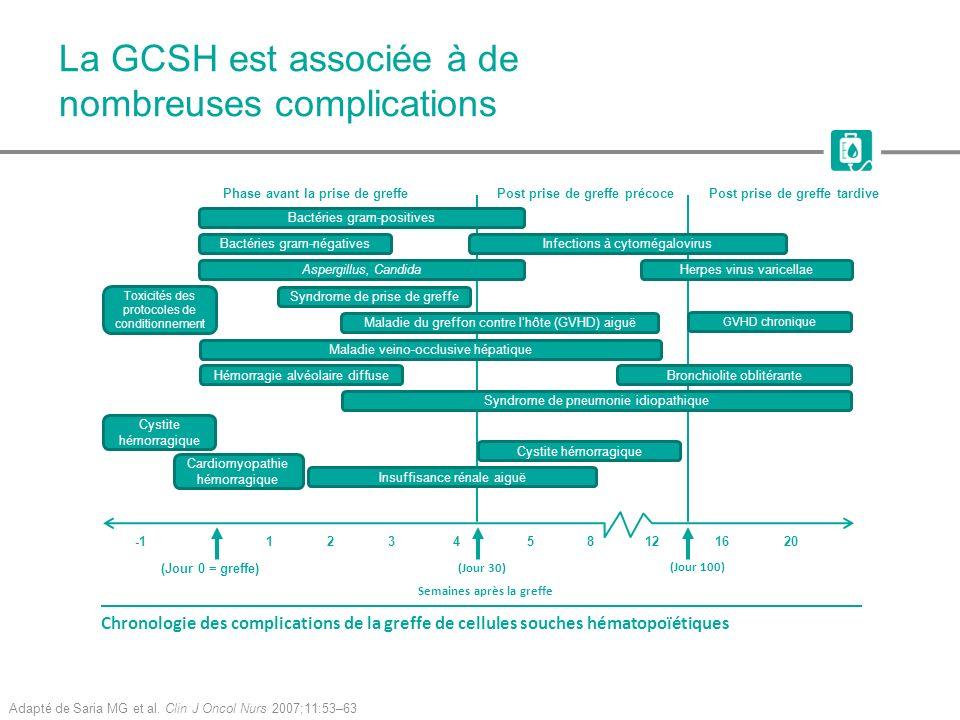 La GCSH est associée à de nombreuses complications Adapté de Saria MG et al. Clin J Oncol Nurs 2007;11:53–63 Bactéries gram-négatives Toxicités des pr