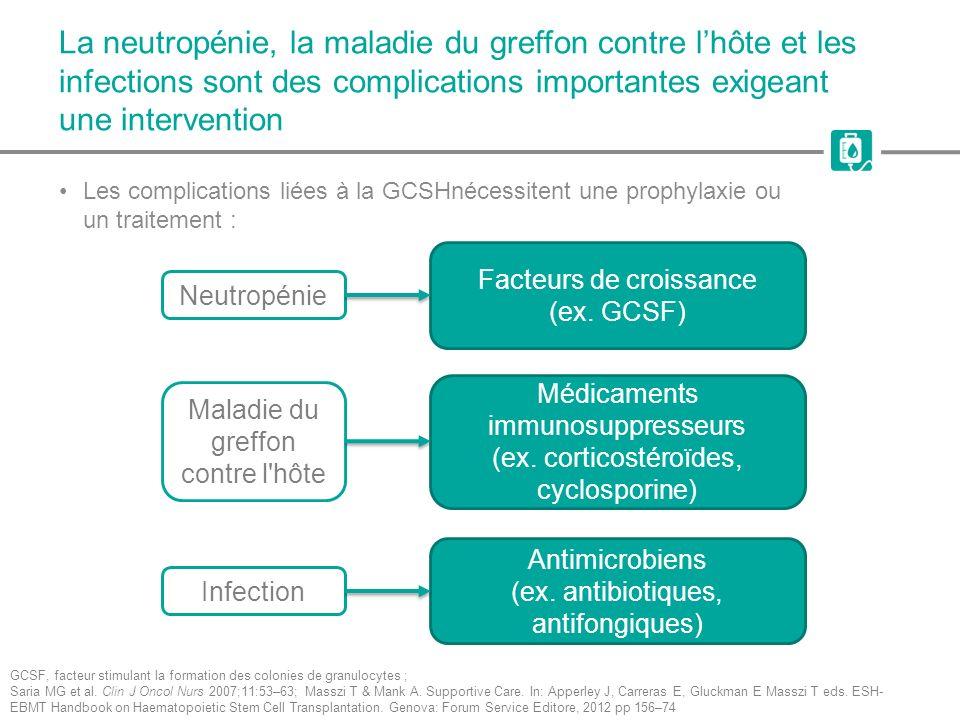 La neutropénie, la maladie du greffon contre lhôte et les infections sont des complications importantes exigeant une intervention Les complications li
