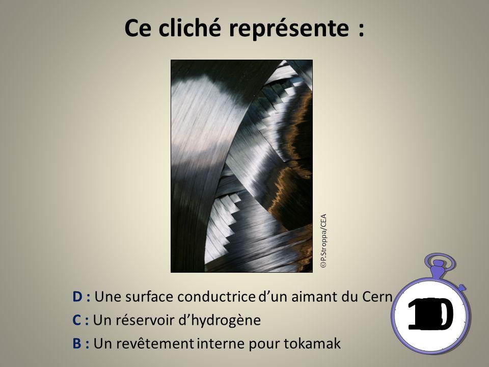 Ce cliché représente : D : Une surface conductrice dun aimant du Cern C : Un réservoir dhydrogène B : Un revêtement interne pour tokamak 10 8 9 6 7 4