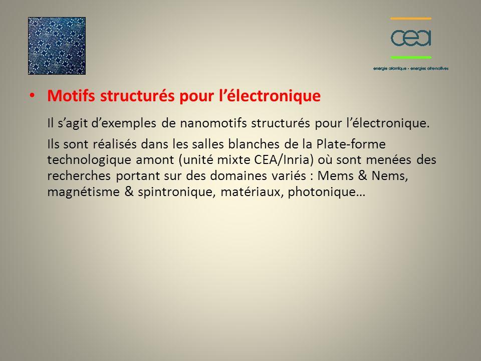 Motifs structurés pour lélectronique Il sagit dexemples de nanomotifs structurés pour lélectronique. Ils sont réalisés dans les salles blanches de la