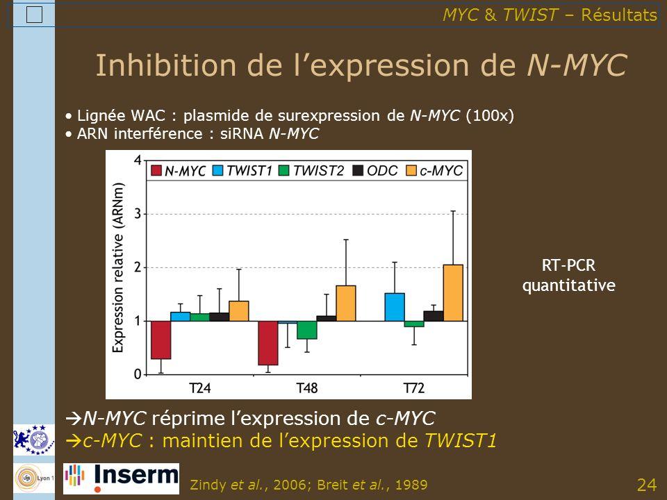 24 Inhibition de lexpression de N-MYC Lignée WAC : plasmide de surexpression de N-MYC (100x) ARN interférence : siRNA N-MYC N-MYC réprime lexpression de c-MYC c-MYC : maintien de lexpression de TWIST1 Zindy et al., 2006; Breit et al., 1989 MYC & TWIST – Résultats RT-PCR quantitative