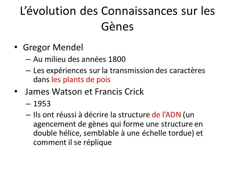 Lévolution des Connaissances sur les Gènes Gregor Mendel – Au milieu des années 1800 – Les expériences sur la transmission des caractères dans les pla
