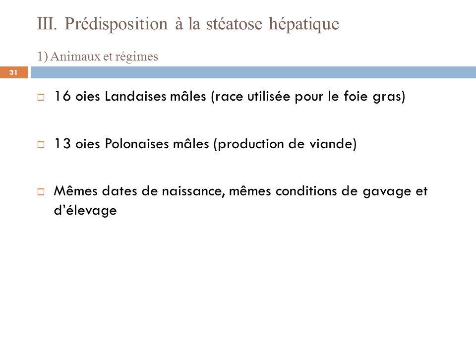 III. Prédisposition à la stéatose hépatique 1) Animaux et régimes 16 oies Landaises mâles (race utilisée pour le foie gras) 13 oies Polonaises mâles (