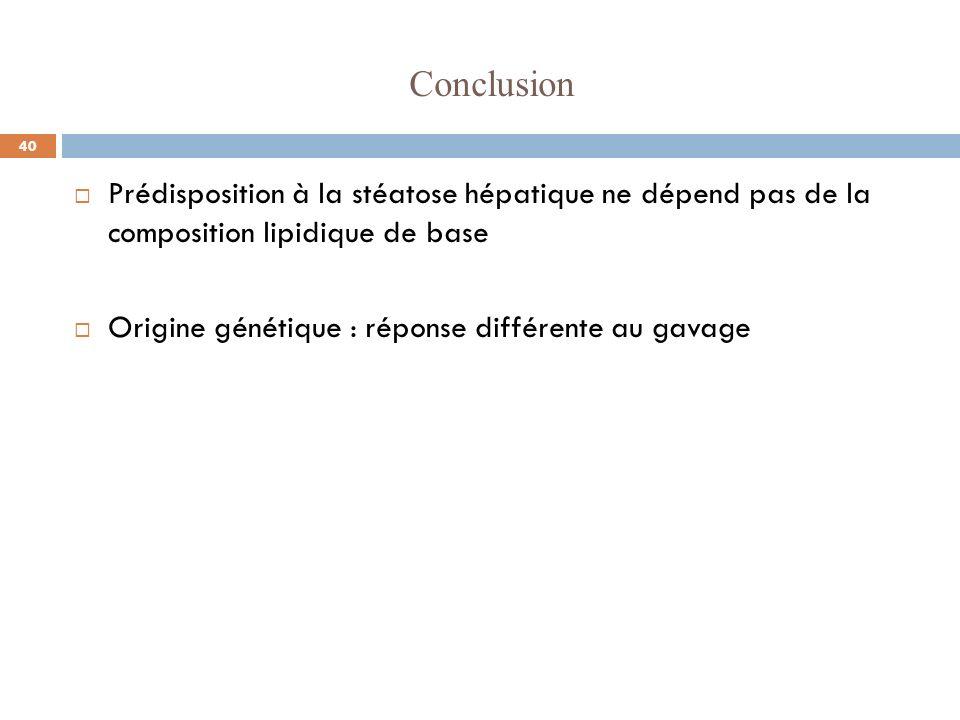 Conclusion Prédisposition à la stéatose hépatique ne dépend pas de la composition lipidique de base Origine génétique : réponse différente au gavage 4