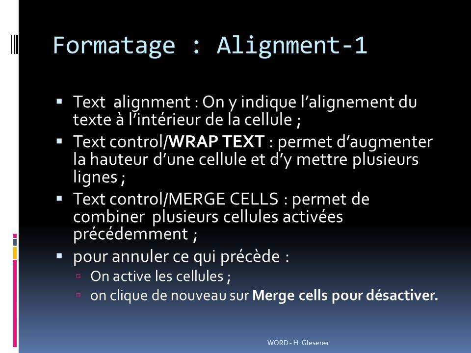 Formatage : Alignment-1 Text alignment : On y indique lalignement du texte à lintérieur de la cellule ; Text control/WRAP TEXT : permet daugmenter la hauteur dune cellule et dy mettre plusieurs lignes ; Text control/MERGE CELLS : permet de combiner plusieurs cellules activées précédemment ; pour annuler ce qui précède : On active les cellules ; on clique de nouveau sur Merge cells pour désactiver.