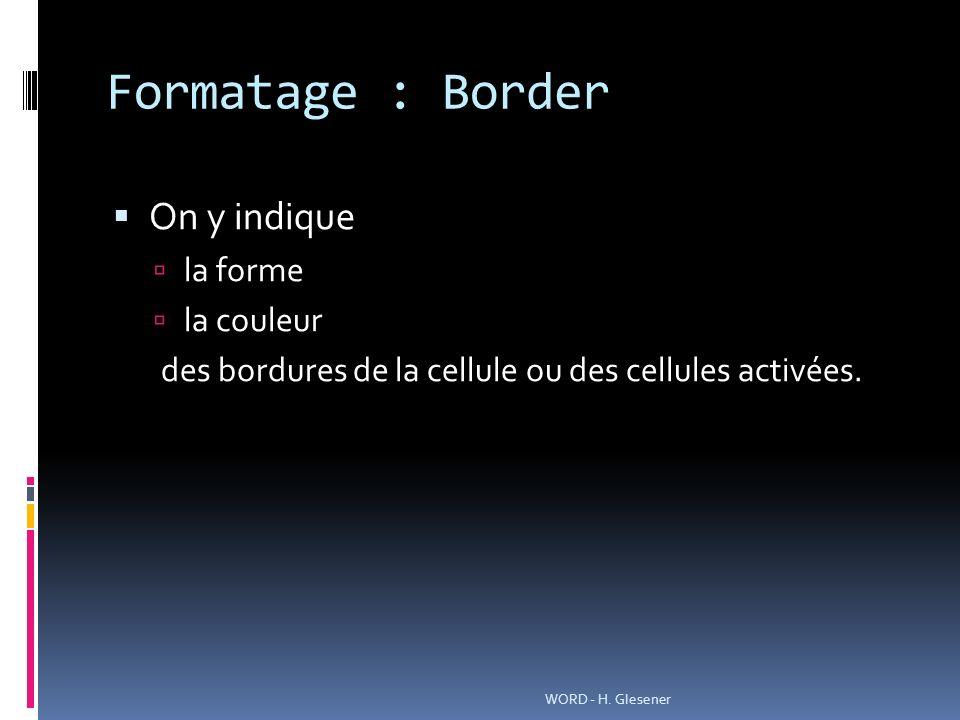 Formatage : Border On y indique la forme la couleur des bordures de la cellule ou des cellules activées.