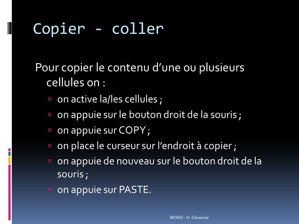 Copier - coller Pour copier le contenu dune ou plusieurs cellules on : on active la/les cellules ; on appuie sur le bouton droit de la souris ; on appuie sur COPY ; on place le curseur sur lendroit à copier ; on appuie de nouveau sur le bouton droit de la souris ; on appuie sur PASTE.