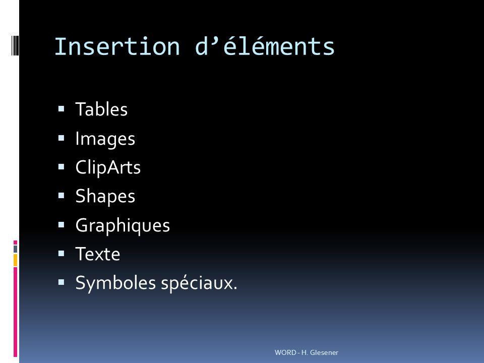 Insertion déléments Tables Images ClipArts Shapes Graphiques Texte Symboles spéciaux.