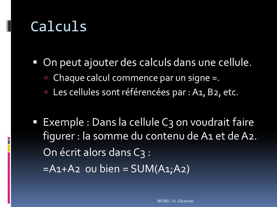 Calculs On peut ajouter des calculs dans une cellule.