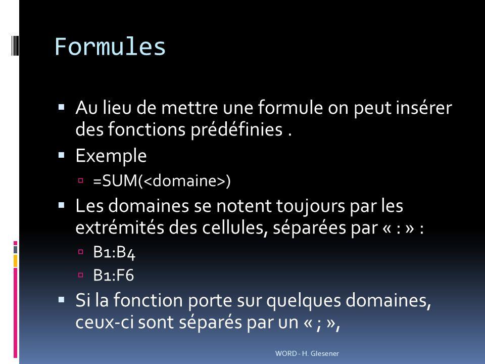 Formules Au lieu de mettre une formule on peut insérer des fonctions prédéfinies.