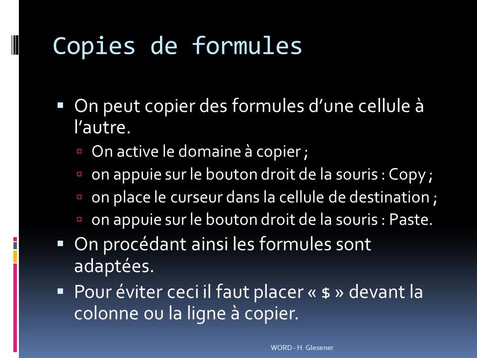 Copies de formules On peut copier des formules dune cellule à lautre.