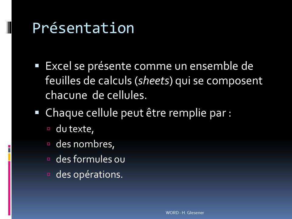 Présentation Excel se présente comme un ensemble de feuilles de calculs (sheets) qui se composent chacune de cellules.