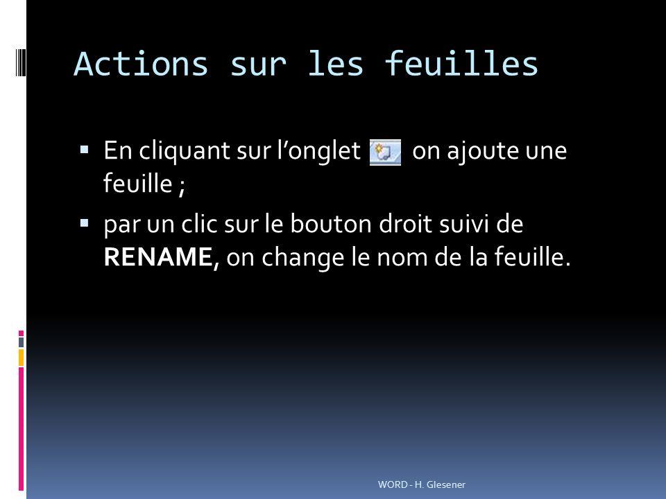 Actions sur les feuilles En cliquant sur longlet on ajoute une feuille ; par un clic sur le bouton droit suivi de RENAME, on change le nom de la feuille.