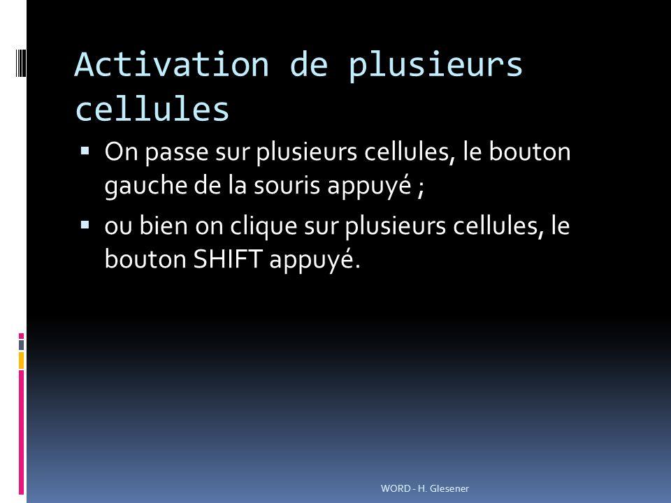 Activation de plusieurs cellules On passe sur plusieurs cellules, le bouton gauche de la souris appuyé ; ou bien on clique sur plusieurs cellules, le bouton SHIFT appuyé.
