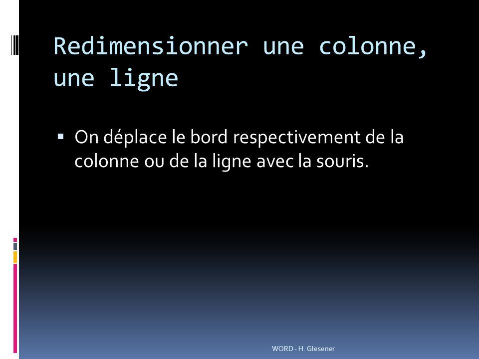 Redimensionner une colonne, une ligne On déplace le bord respectivement de la colonne ou de la ligne avec la souris.
