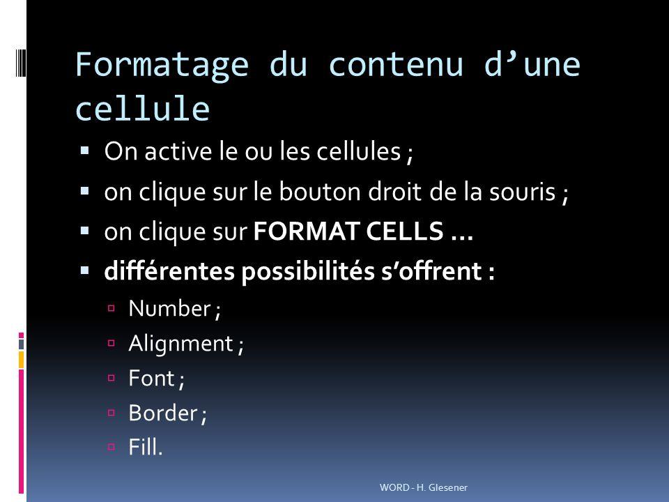 Formatage du contenu dune cellule On active le ou les cellules ; on clique sur le bouton droit de la souris ; on clique sur FORMAT CELLS … différentes possibilités soffrent : Number ; Alignment ; Font ; Border ; Fill.
