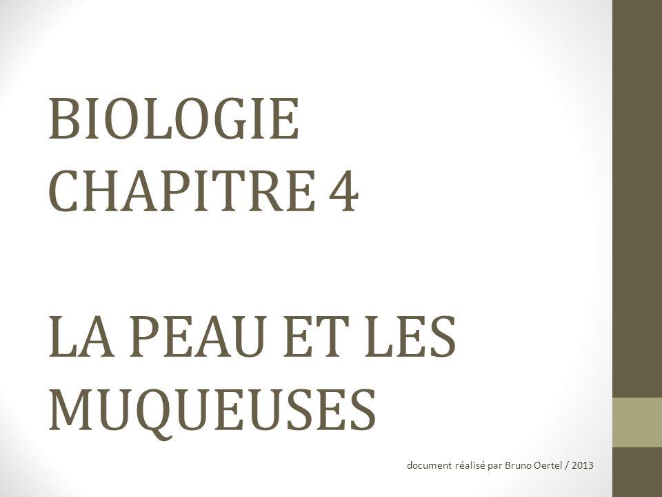 BIOLOGIE CHAPITRE 4 LA PEAU ET LES MUQUEUSES document réalisé par Bruno Oertel / 2013