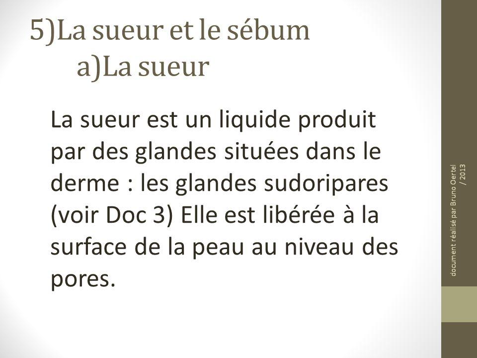 5)La sueur et le sébum a)La sueur La sueur est un liquide produit par des glandes situées dans le derme : les glandes sudoripares (voir Doc 3) Elle es