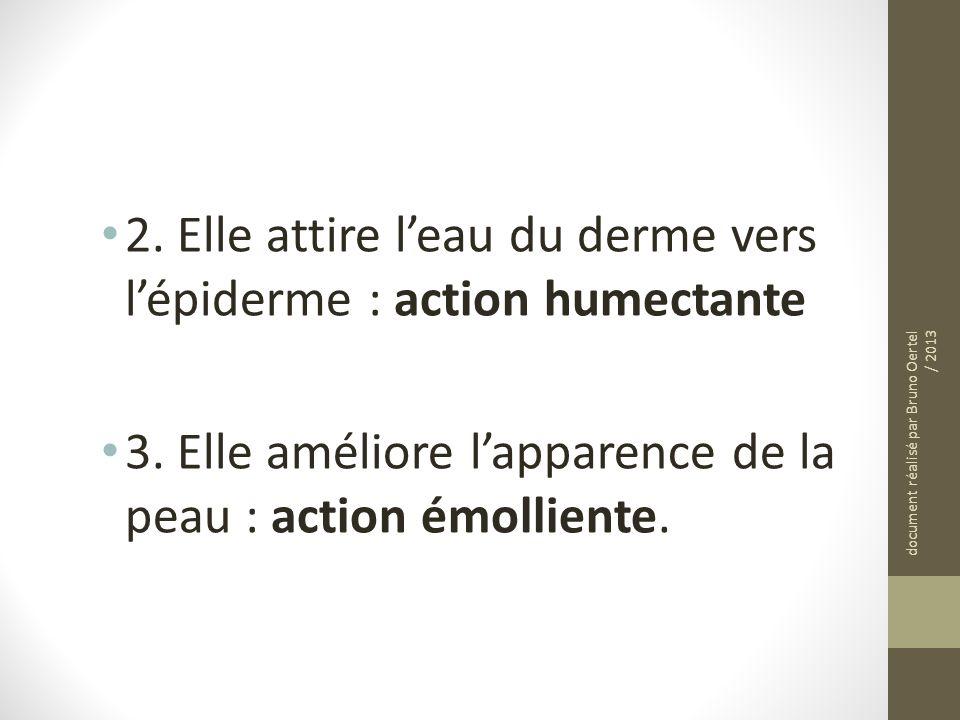 2. Elle attire leau du derme vers lépiderme : action humectante 3. Elle améliore lapparence de la peau : action émolliente. document réalisé par Bruno