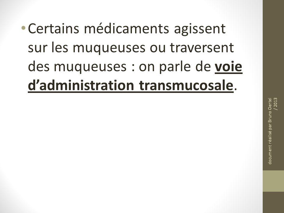 Certains médicaments agissent sur les muqueuses ou traversent des muqueuses : on parle de voie dadministration transmucosale. document réalisé par Bru
