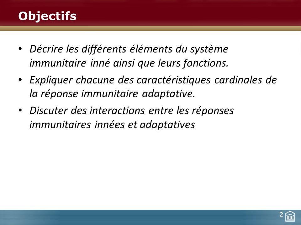 Objectifs Décrire les différents éléments du système immunitaire inné ainsi que leurs fonctions. Expliquer chacune des caractéristiques cardinales de