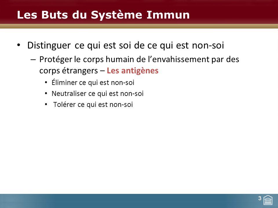 Les Buts du Système Immun Distinguer ce qui est soi de ce qui est non-soi – Protéger le corps humain de lenvahissement par des corps étrangers – Les a