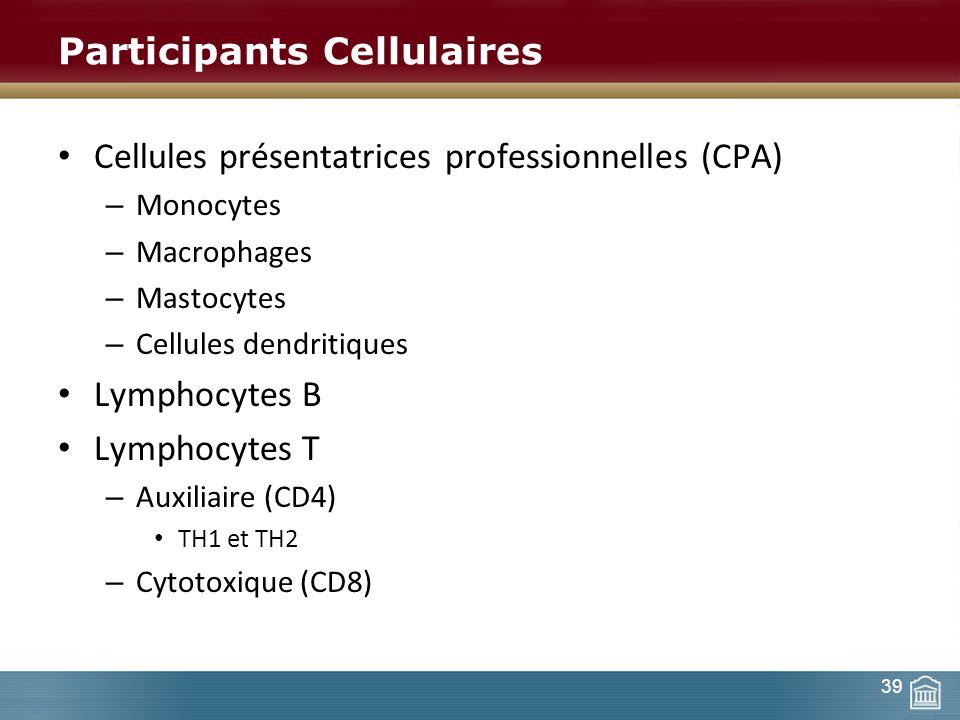 Participants Cellulaires Cellules présentatrices professionnelles (CPA) – Monocytes – Macrophages – Mastocytes – Cellules dendritiques Lymphocytes B L