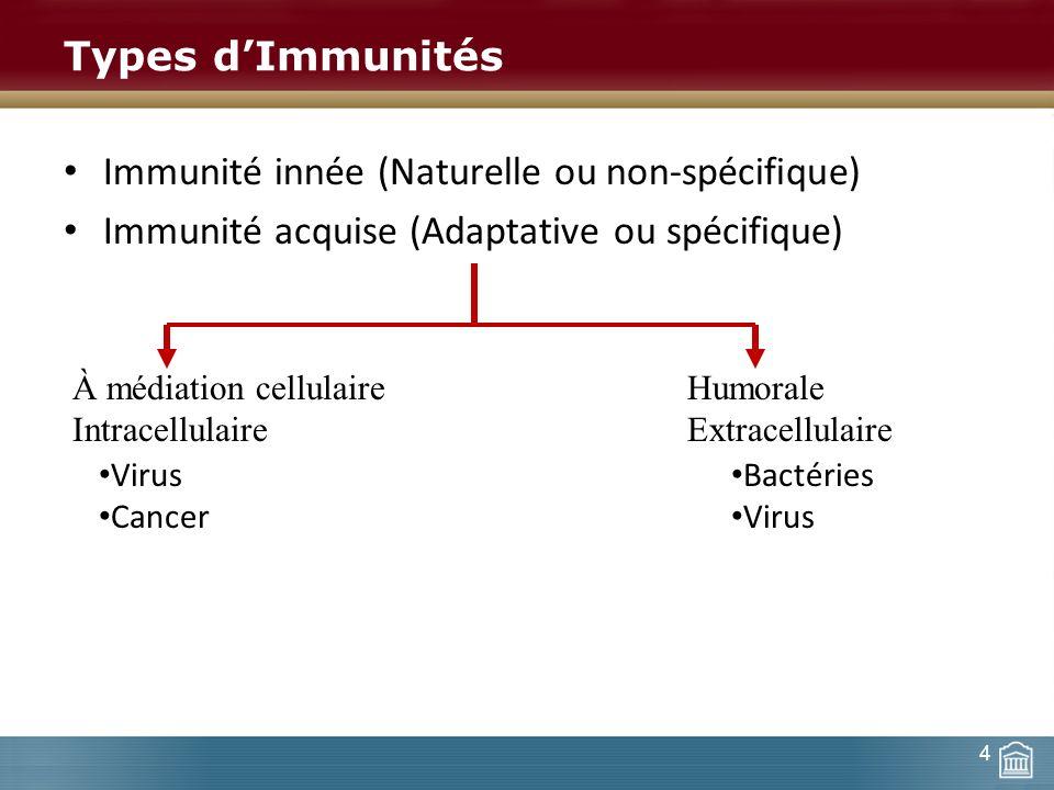 Types dImmunités Immunité innée (Naturelle ou non-spécifique) Immunité acquise (Adaptative ou spécifique) À médiation cellulaire Humorale Intracellula