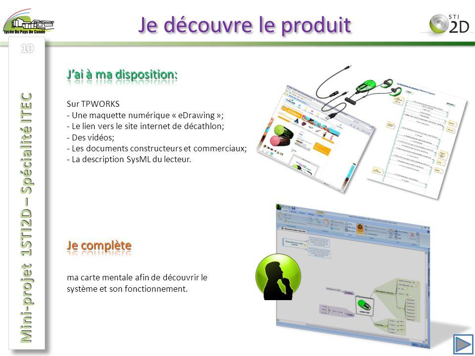 Je découvre le produit Sur TPWORKS - Une maquette numérique « eDrawing »; - Le lien vers le site internet de décathlon; - Des vidéos; - Les documents constructeurs et commerciaux; - La description SysML du lecteur.