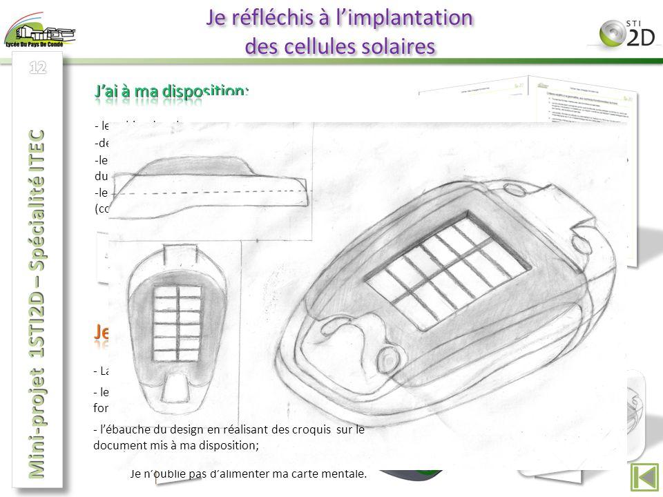 Je réfléchis à limplantation des cellules solaires - le cahier des charges fonctionnel; - La modification des deux diagrammes SysML; -deux nouveaux diagrammes SysML à modifier; -le modèle numérique du fond du mp3, de ma cellule et du lecteur mp3 assemblé; -le document ressource de lactivité de repérage (coloriage) de surfaces sur Solidworks.