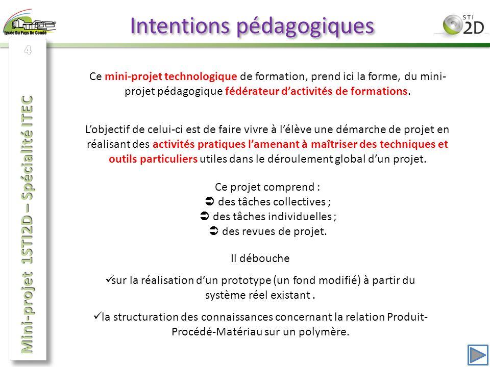 Intentions pédagogiques Ce mini-projet technologique de formation, prend ici la forme, du mini- projet pédagogique fédérateur dactivités de formations.