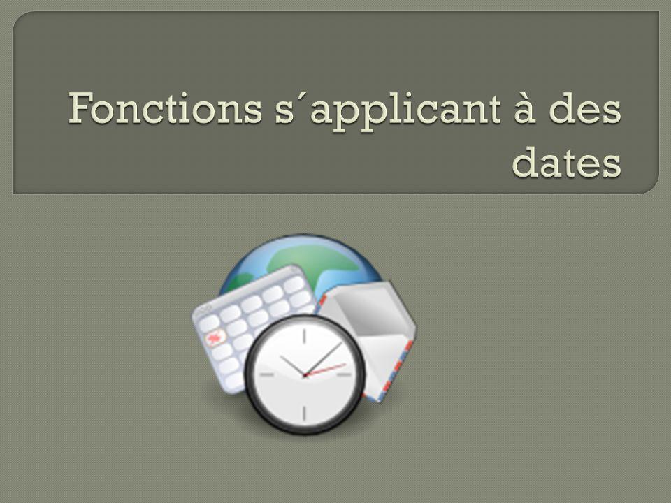 1.La fonction « Ahora » est utilisé pour donner la date et l´heure actuelle, elle se met au jour constamment 2.La fonction « Hoy » vous donne la date actuelle dans l´ordinateur 3.La fonction dias.lab() donne les jours de différence entre une date et une autre.