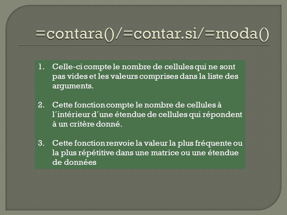 ABCD 1FonctionsCritère 2>=65 3 434=contara(B4:B8)5 565=contar.si(B4:B8;>=65)4 645=moda(B4:B8)65 7 887 9 Exemples