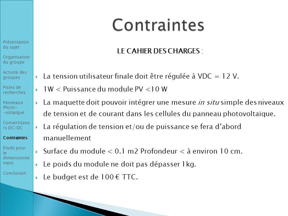 LE CAHIER DES CHARGES : La tension utilisateur finale doit être régulée à VDC = 12 V. 1W < Puissance du module PV <10 W La maquette doit pouvoir intég