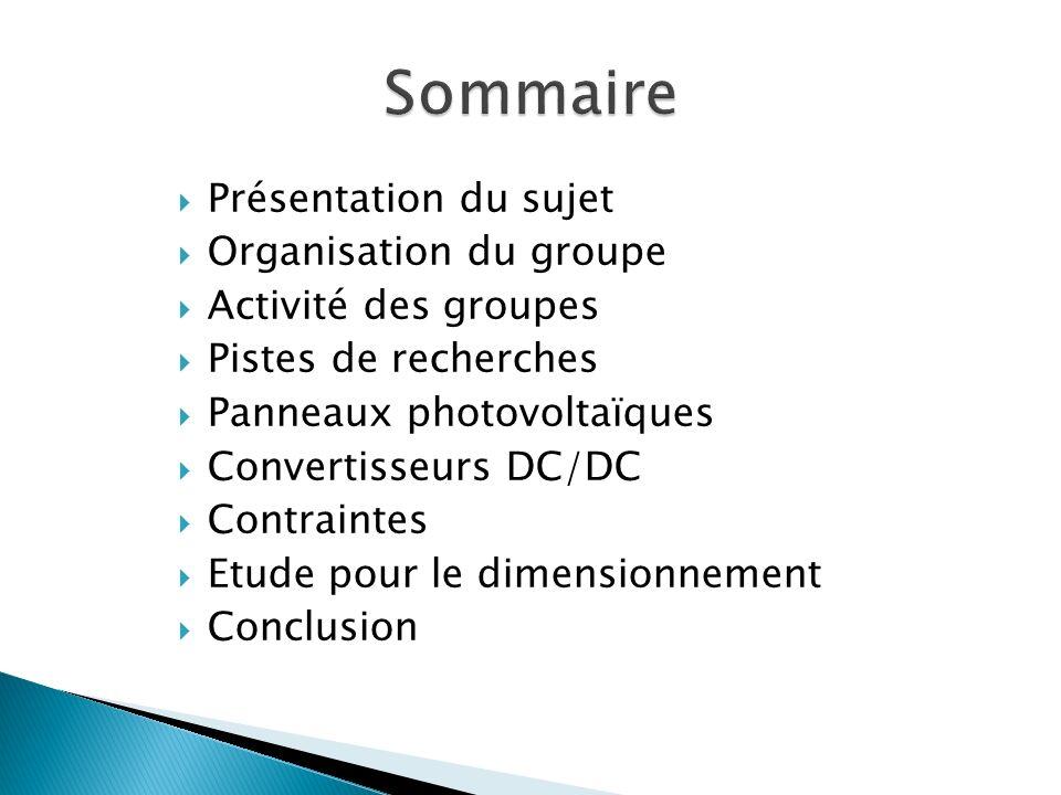 Présentation du sujet Organisation du groupe Activité des groupes Pistes de recherches Panneaux photovoltaïques Convertisseurs DC/DC Contraintes Etude