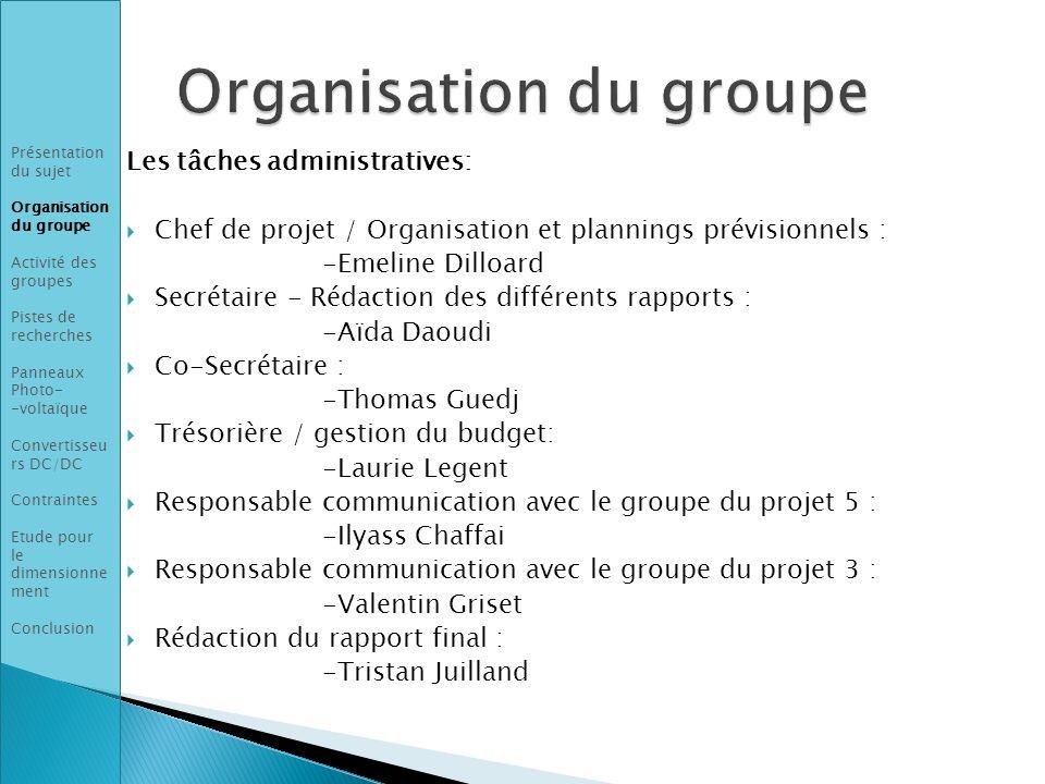 Les tâches administratives: Chef de projet / Organisation et plannings prévisionnels : -Emeline Dilloard Secrétaire - Rédaction des différents rapport