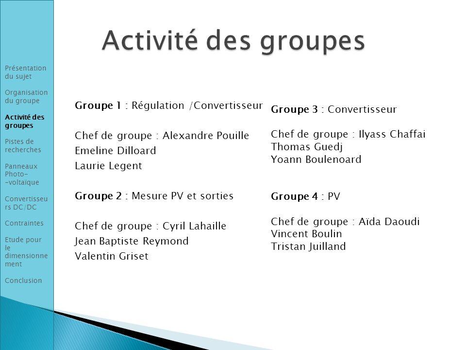 Groupe 1 : Régulation /Convertisseur Chef de groupe : Alexandre Pouille Emeline Dilloard Laurie Legent Groupe 2 : Mesure PV et sorties Chef de groupe
