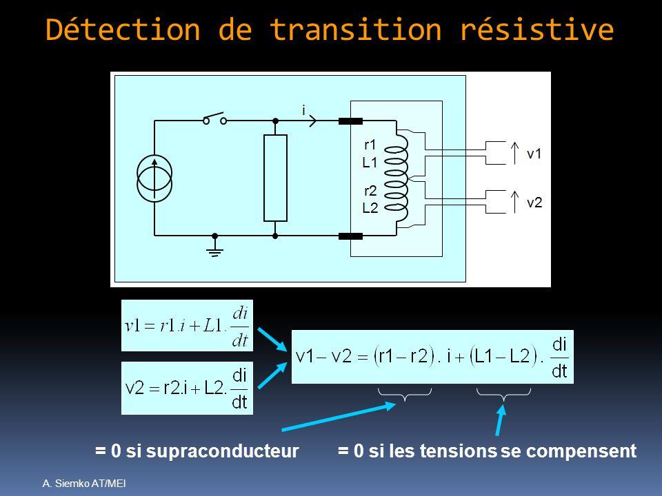 A. Siemko AT/MEI Détection de transition résistive = 0 si supraconducteur= 0 si les tensions se compensent