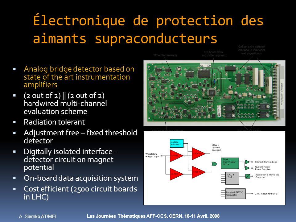 A. Siemko AT/MEI Les Journées Thématiques AFF-CCS, CERN, 10-11 Avril, 2008 Électronique de protection des aimants supraconducteurs Analog bridge detec