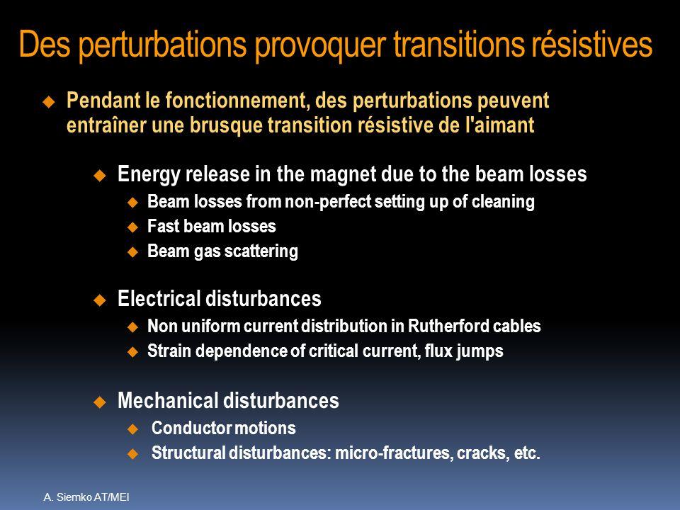 A. Siemko AT/MEI Des perturbations provoquer transitions résistives Electrical disturbances u Non uniform current distribution in Rutherford cables u