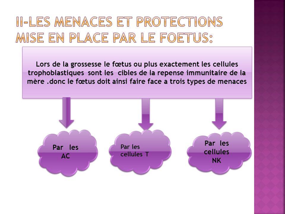 Lors de la grossesse le fœtus ou plus exactement les cellules trophoblastiques sont les cibles de la repense immunitaire de la mère.donc le fœtus doit ainsi faire face a trois types de menaces Par les AC Par les cellules T Par les cellules NK
