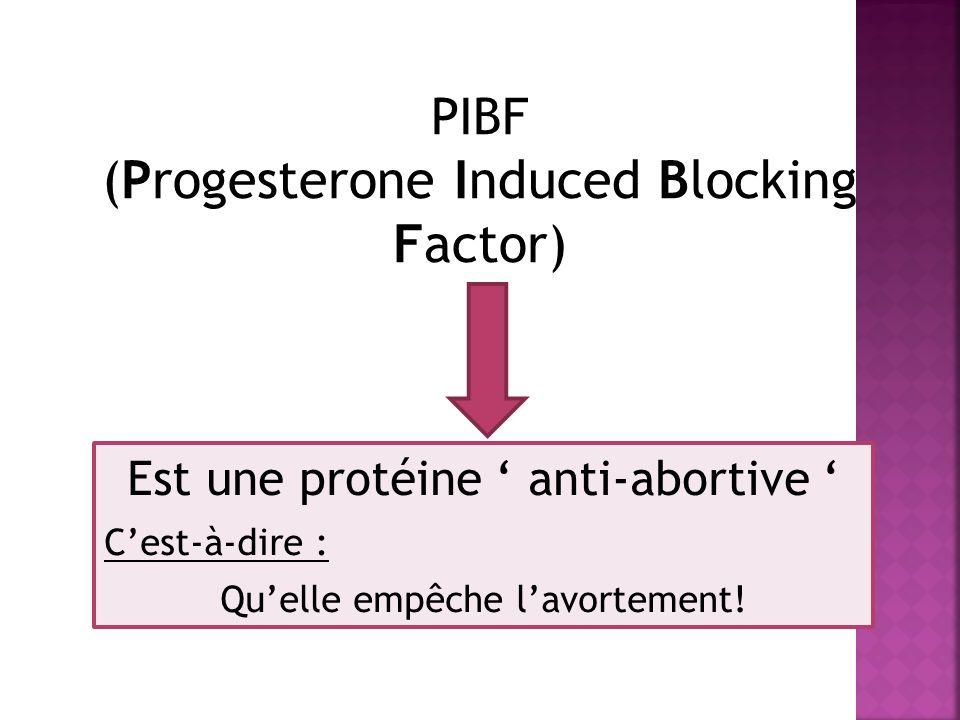 PIBF (Progesterone Induced Blocking Factor) Est une protéine anti-abortive Cest-à-dire : Quelle empêche lavortement!