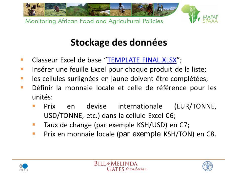 Classeur Excel de base TEMPLATE FINAL.XLSX;TEMPLATE FINAL.XLSX Insérer une feuille Excel pour chaque produit de la liste; les cellules surlignées en jaune doivent être complétées; Définir la monnaie locale et celle de référence pour les unités: Prix en devise internationale (EUR/TONNE, USD/TONNE, etc.) dans la cellule Excel C6; Taux de change (par exemple KSH/USD) en C7; Prix en monnaie locale ( par exemple KSH/TON) en C8.